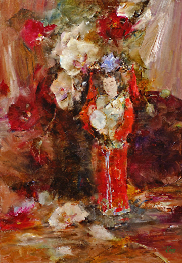 Asian Doll with Orchids by Laura Robb Oil ~ 18 x 14