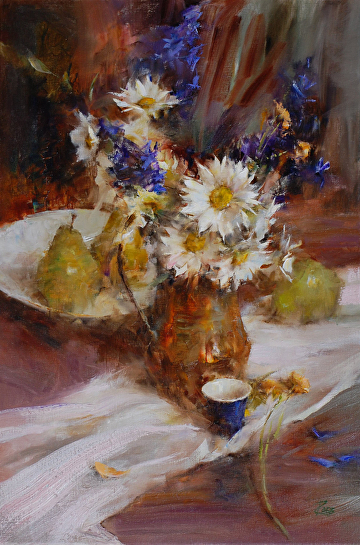Daisies and Delphiniums by Laura Robb Oil ~ 24 x 16