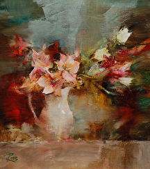 Bouquet in Milk Pitcher by Laura Robb Oil ~ 10 x 9