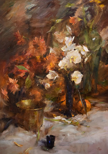 Orchids and Dahlias by Laura Robb Oil ~ 34 x 24