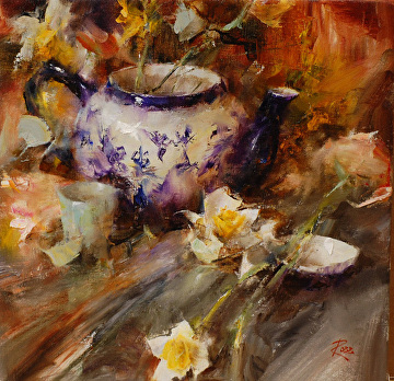 Daffodils and Teapot by Laura Robb Oil ~ 12 x 12