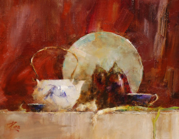 Fish Teapot and Eggplants by Laura Robb Oil ~ 8 x 10