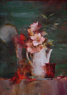 Pink Amaryllis by Laura Robb Oil ~ 11 x 8