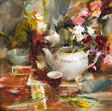 Table with Flowers and Teapot by Laura Robb Oil ~ 16 x 16