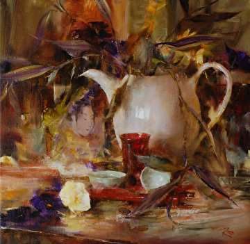 Arrangement with White Teapot by Laura Robb Oil ~ 16 x 16
