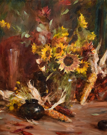 Sunflowers with Indian Corn by Laura Robb Oil ~ 30 x 24