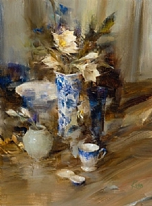 Arrangement in Blue and White by Laura Robb pigmented ink print  (giclee) ~ 12 x 9