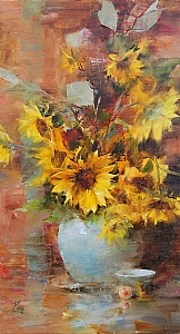 """Sunflowers"" by Laura Robb Oil ~ 18 x 10"