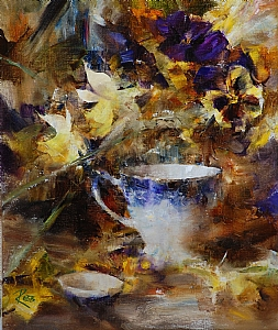 Flow Blue Teacup and Jonquils by Laura Robb Oil ~ 12 x 10