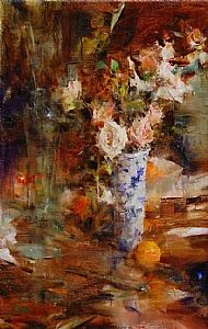 Table with Roses by Laura Robb Oil ~ 14 x 9