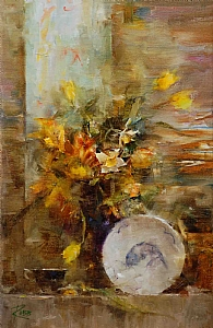Fish Bowl and Spring Flowers by Laura Robb Oil ~ 14 x 9