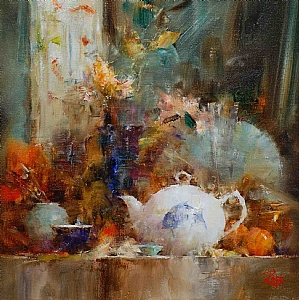 Shelf with Fish Teapot by Laura Robb Oil ~ 11 x 11