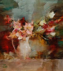Bouquet in Milk Pitcher by Laura Robb Oil ~ 10 x 9