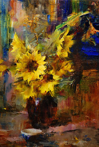 Sunflowers by Laura Robb Oil ~ 16 x 11