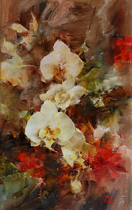 Orchids and Geraniums by Laura Robb Oil ~ 16 x 10