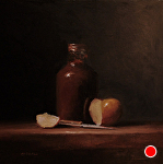 Sauce Bottle with Sliced Apple by Neil Carroll Oil ~ 8 x 8