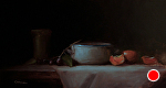Still Life with Dish by Neil Carroll Oil ~ 7.5 x 15