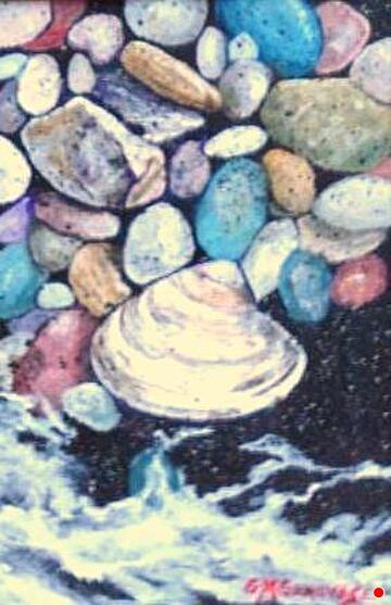 Beach pebbles by Gigi Genovese Acrylic ~ 5 x 7