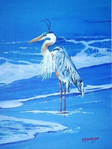 Blue Heron by Gigi Genovese Acrylic ~ 11 x 14