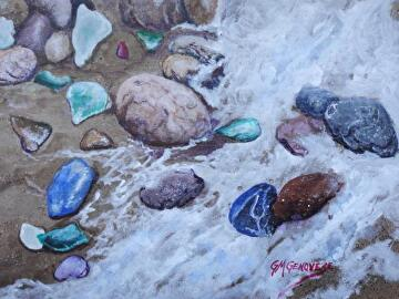 Surf and seaglass by Gigi Genovese Acrylic ~ 8 x 10