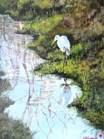 slow and steady egret by Gigi Genovese Acrylic ~ 11 x 14