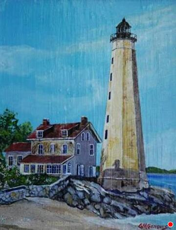NL Harbor Light by Gigi Genovese Acrylic ~ 11 x 14