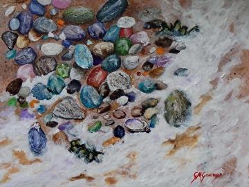 Beach stone sonata by Gigi Genovese Acrylic ~ 11 x 14