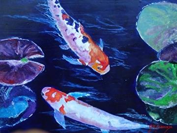 Andrea's Koi Pond by Gigi Genovese Acrylic ~ 11 x 14