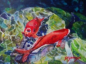 Feeding Time by Gigi Genovese Acrylic ~ 8 x 10