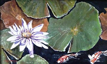 Waterlily pond by Gigi Genovese Acrylic ~ 9 x 14
