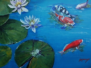 Lilies and Koi by Gigi Genovese Acrylic ~ 16 x 20