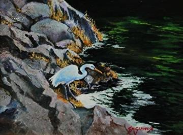 great white egret by Gigi Genovese  ~ 11 x 14