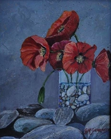 Poppies and pebbles by Gigi Genovese Acrylic ~ 8 x 10