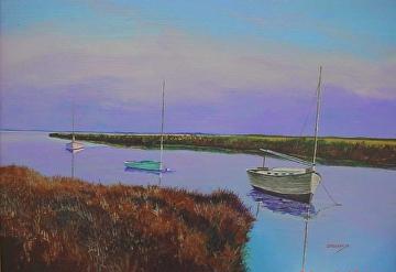 Sails at Dusk by Gigi Genovese Acrylic ~ 18 x 24