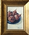 Pears on blue plate by Gigi Genovese Acrylic ~ 5 x 7