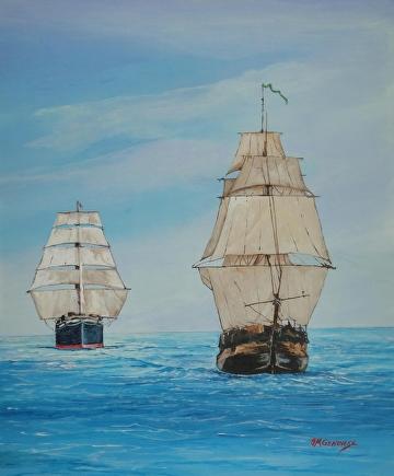 Tall ships by Gigi Genovese Acrylic ~ 16 x 20