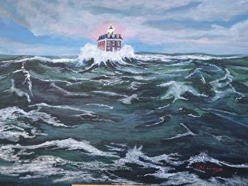 Ledge Light seas by Gigi Genovese Acrylic ~ 16 x 20