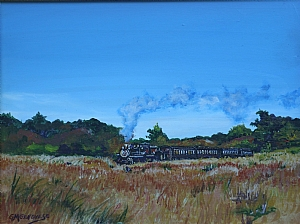 Riding the Rail by Gigi Genovese Acrylic ~ 11 x 14