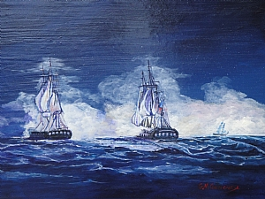 War of 1812 Battle between Constitution vs Guerriere by Gigi Genovese Acrylic ~ 11 x 14