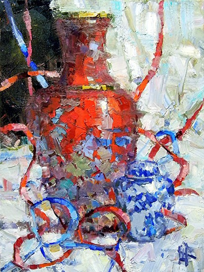 Red Vase With Ribbons - Oil