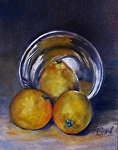 Still Life with SIlver Bowl by Coko Brown Oil ~ 10 x 8