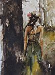 Maid of Honor by Coko Brown Watercolor ~ 11 x 14