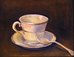 Tea Cup n Spoon by Coko Brown Oil ~ 8 x 10
