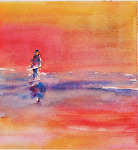 Sunset Stroll by Coko Brown Watercolor ~ 6 x 9
