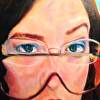 four eyes, portrait of chrissy, golden fluid acrylic, framed