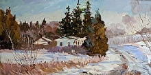 Jordanville Winter by Nikolay Mikushkin Oil ~ 10 x 20