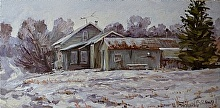Cottage Frost by Nikolay Mikushkin Oil ~ 10 x 20