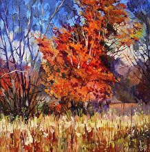 The Red Tree by Nikolay Mikushkin Oil ~ 24in x 24in