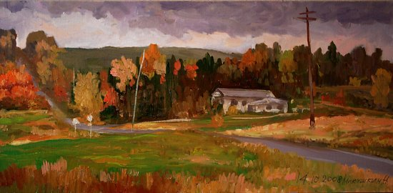 Jordanville Sketch by Nikolay Mikushkin Oil ~ 10 x 20