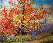 Red Tree on a Hill by Nikolay Mikushkin Oil ~ 20 x 24